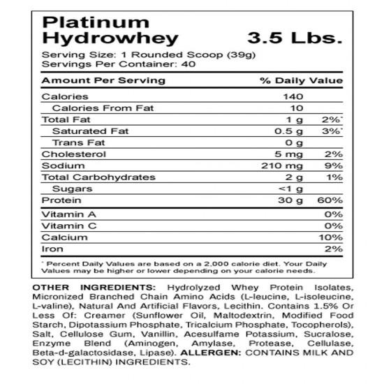Platinum Hydro whey 3.5lbs. De ON